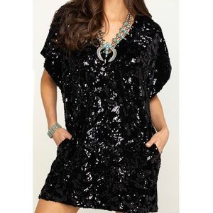 BY TOGETHER BLACK SEQUINS TUNIC WITH POCKETS